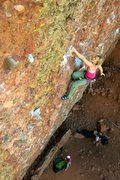 Rock Climbing Photo: Getting a good shake halfway through the route. Au...