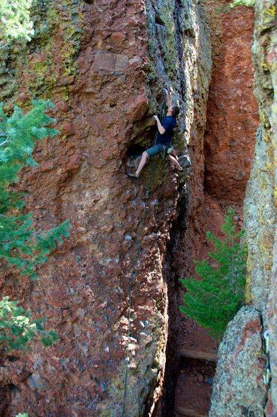 Rock Climbing Photo: Walt enjoying the big holds. August 2012.