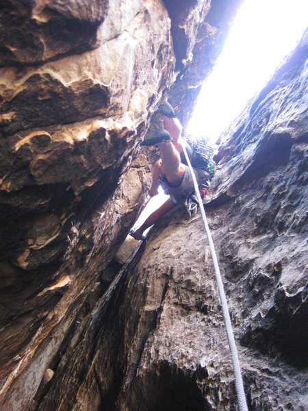 P-2. Fun, if you're not leading it. ; ) <br> Although, Jonny liked it. : ) He chose to place a Big Bro, and not clip the retro bolt, which may, or may not still be there. It's been awhile since we were on Healy's. Climbers beware.<br> <br>