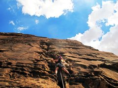 Rock Climbing Photo: Climbing on a hot summer day in Red Rock to keep m...