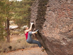 Rock Climbing Photo: Working on a problem at the Bacher Boulders, CA.