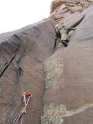 Rock Climbing Photo: Thin. Challenger, Pine Creek Canyon, Red Rock, Nev...