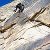 The aid pitch. Eagle Dance, Oak Creek Canyon, Red Rock, Nevada.