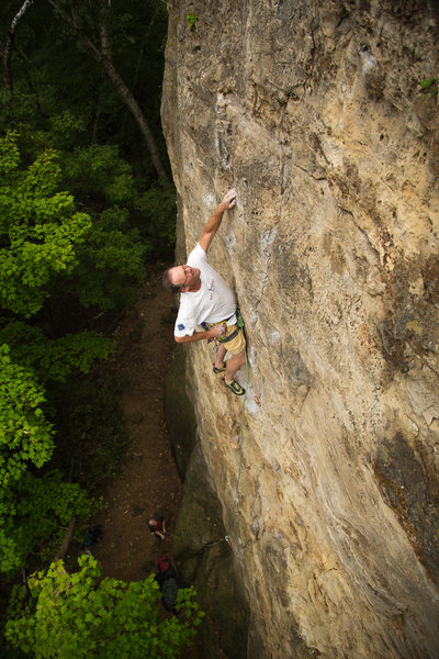 Dave Rone climbing Frequent Flatulence.