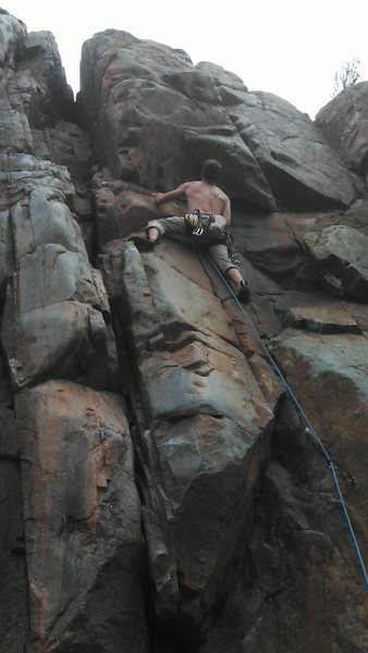 Rock Climbing Photo: Just before the crux on Double Trouble