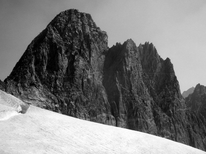 The Sphinx from Sphinx Glacier showing the mellow descent ridge on the left.