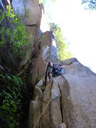 Rock Climbing Photo: Starting up the slot on P2 after the opening flake...