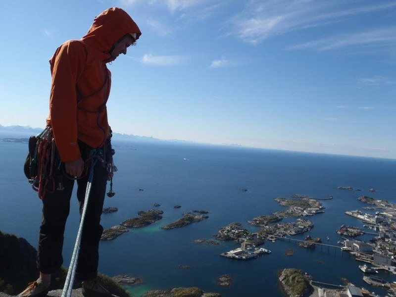 Lofoten Islands, Norway, climbing in the midnight sun on 'Gandalf' above Henningsvaer