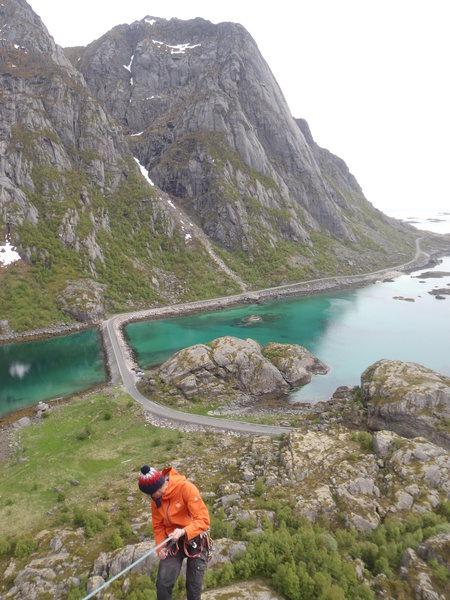 Rock Climbing Photo: rapping down from Pianokrakken above Djupfjord in ...
