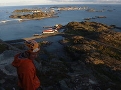 Rock Climbing Photo: midnight sun, climbing at around 11:30PM near Henn...