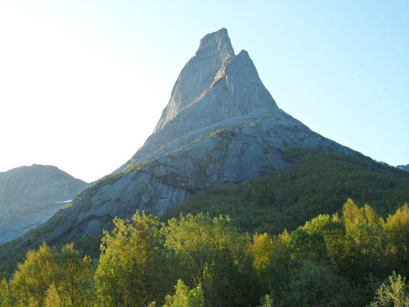 Stetind, Norway's National Mountain, from the water's edge.. summit is 1400 meters. not a bad looking hill eh?