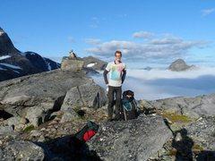 Rock Climbing Photo: gearing up to start climbing Sydpillaren on Stetin...