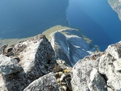 Rock Climbing Photo: base jumping anyone? looking down 1400 meters to t...