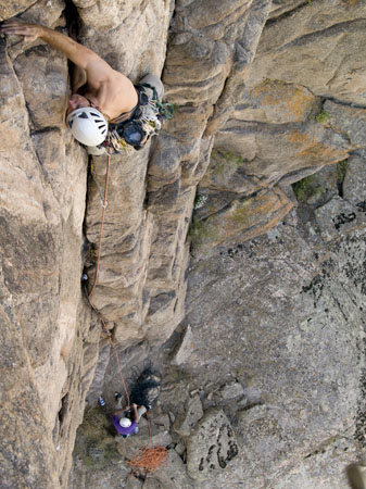 Rock Climbing Photo: Jason Nelson leads the Mr. Crumblies pitch of Pent...