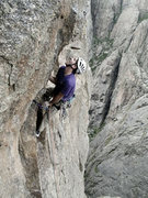 Cody Sims on the crux of Pent Up, the Black Canyon.