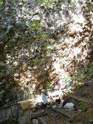 Stella Blue at the base of Jimmy Dodges a Boulder