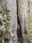 Rock Climbing Photo: The slot/alcove. Stefani is bolting Rebar & Rakes....
