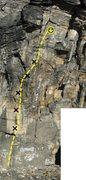 Rock Climbing Photo: Topo for Outrage