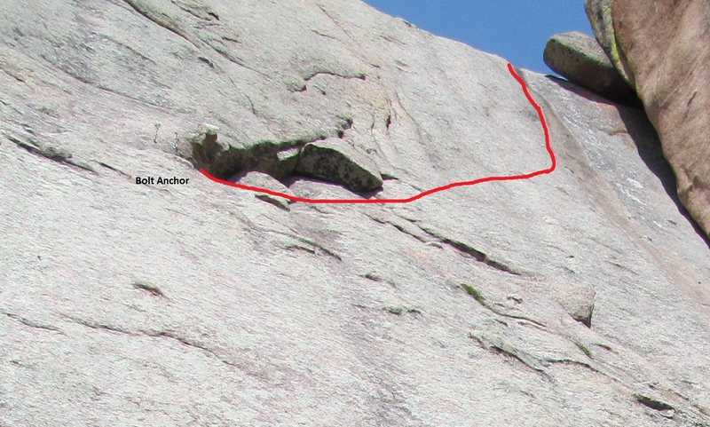 A somewhat foreshortened view of the route from the Walt's Wall start. Satterfield's Crack is in the huge corner to the right.