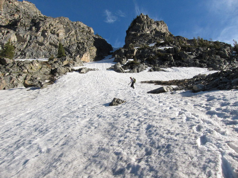 Rock Climbing Photo: Looking up the couloir (Photo taken on the descent...