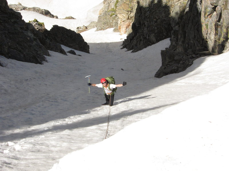David Lenz in the upper couloir. Photo taken from cornice at the col.