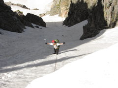 Rock Climbing Photo: David Lenz in the upper couloir. Photo taken from ...