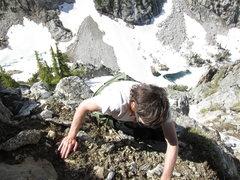 Rock Climbing Photo: An easy mantel, but no falls allowed.