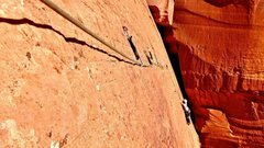 Rock Climbing Photo: Traversing the hanging slab. Amazing.