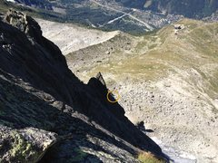 Rock Climbing Photo: Climber on the first pitches of the ridge, climbin...