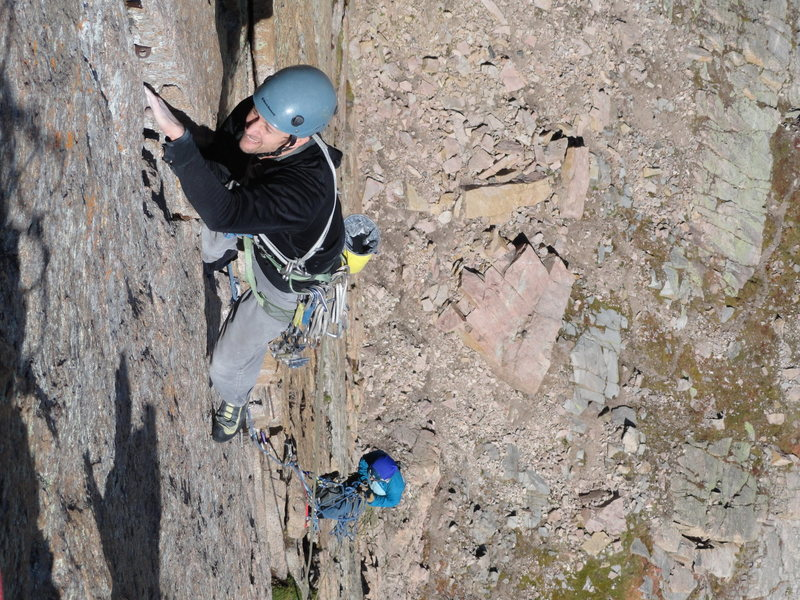 Rock Climbing Photo: Eric approaching crossover ledge. 25 Aug. 2012. Er...