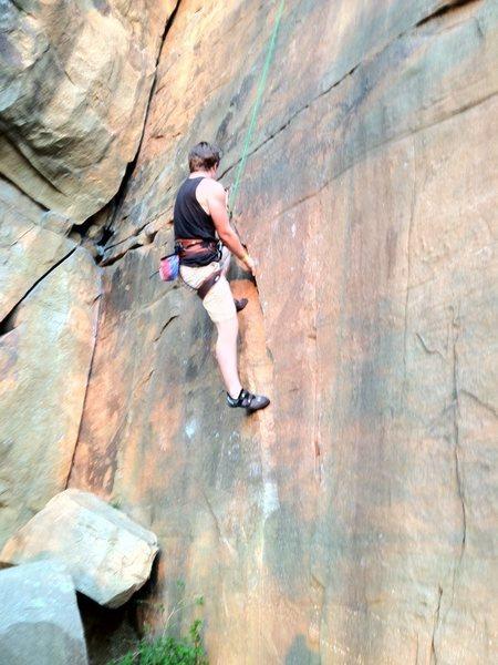 Rock Climbing Photo: working on a climb at sunset
