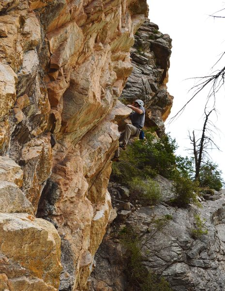 Rock Climbing Photo: John Hinrichsen veering right and potentially off-...