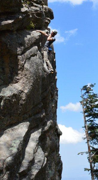 Rock Climbing Photo: John Hinrichsen savoring a rest near the top.