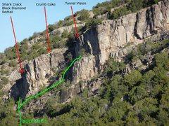 Rock Climbing Photo: Tunnel Springs Crag, left side--photo by Vaino Kod...