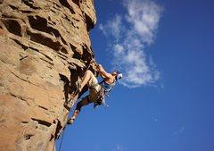 Rock Climbing Photo: Patrick leads pitch 2 of Sun Devil.