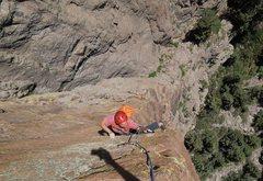 Rock Climbing Photo: Florian follows the glorious arete.
