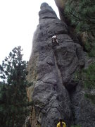 Rock Climbing Photo: Regenerator.  Dave Rone about half-way up.  The cr...