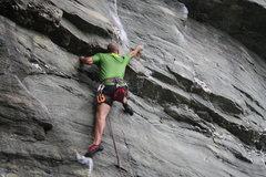 Rock Climbing Photo: Unwritten Law (5.12b/c)  Third bolt  The Dump - Hi...