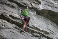 Rock Climbing Photo: Unwritten Law (5.12b/c)  One of my favorite moves....