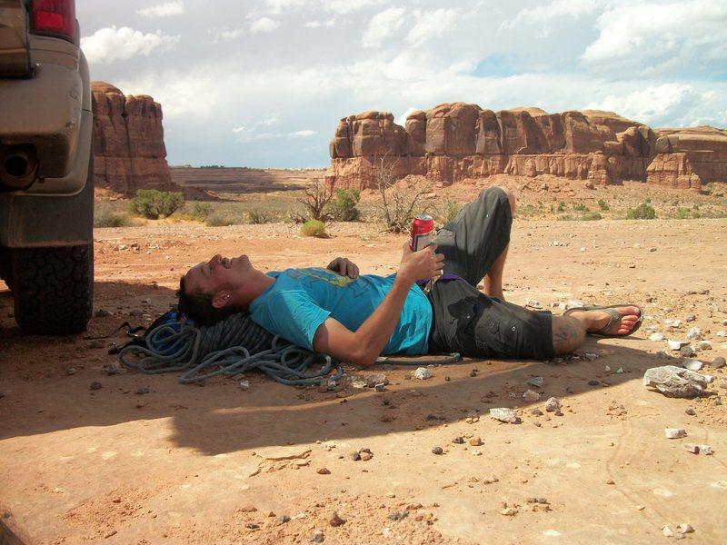 Rock Climbing Photo: taylor after a hard days work