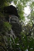 Rock Climbing Photo: Son of White Trash (5.8)sport  Marvin Dawson leads...