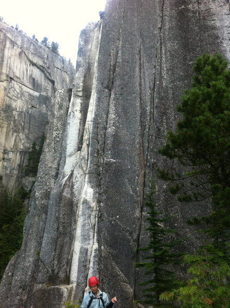 Crux pitch of Squamish Buttress is in the white streaked dihedral. There are two 5.12 cracks to the right.