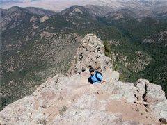 Rock Climbing Photo: Scrambling up the edge of the Shield.