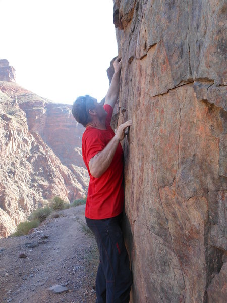 Working the moves of the Electron Shuffle traverse.