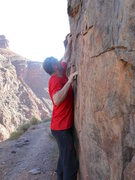 Rock Climbing Photo: Working the moves of the Electron Shuffle traverse...