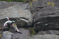 Rock Climbing Photo: Negotiating the roof and corner moves at the start...