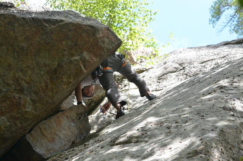 Rock Climbing Photo: Following through the chimney.