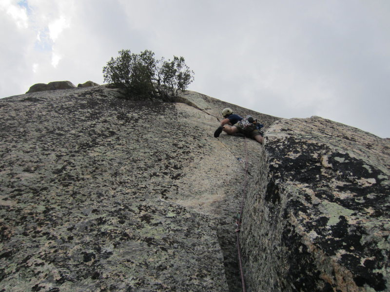 Rock Climbing Photo: Clay starting off on pitch 3; he finished the pitc...