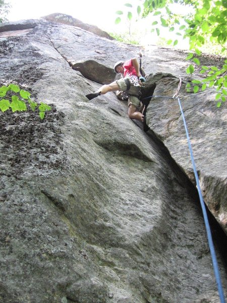 Rock Climbing Photo: Above the layback'ed wide crack.  Note the pre-pla...