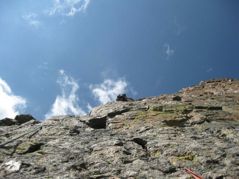 Rock Climbing Photo: Glimpse of the climbing on the upper pitches, next...